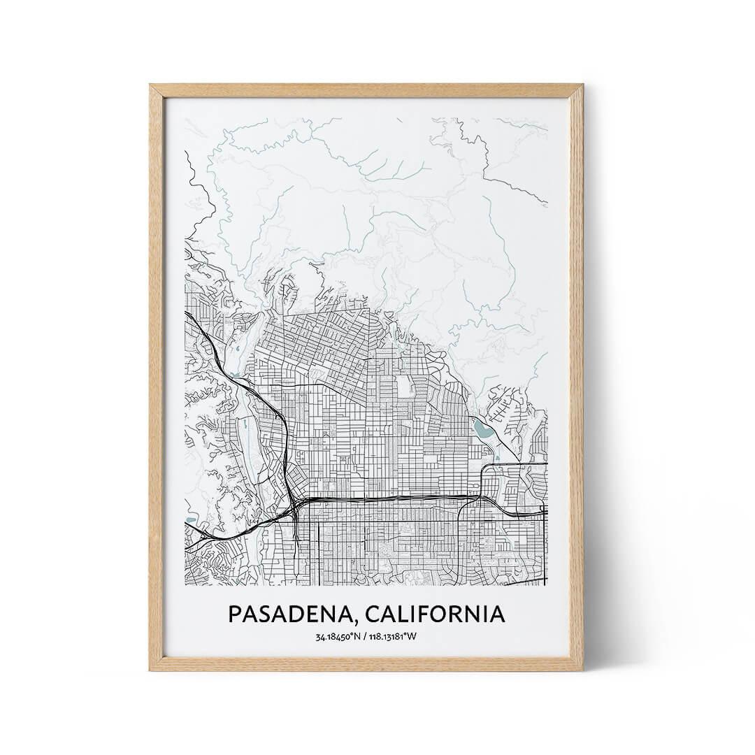 Pasadena city map poster