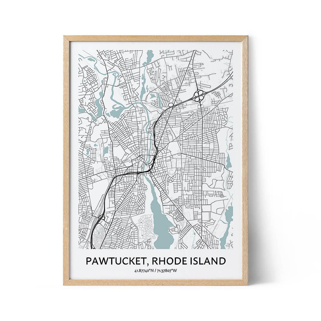 Pawtucket city map poster