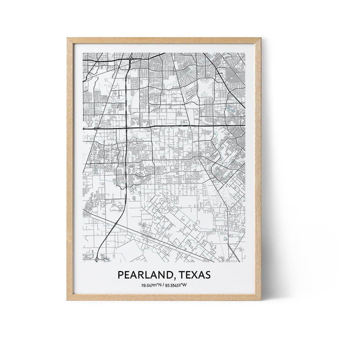 Pearland city map poster
