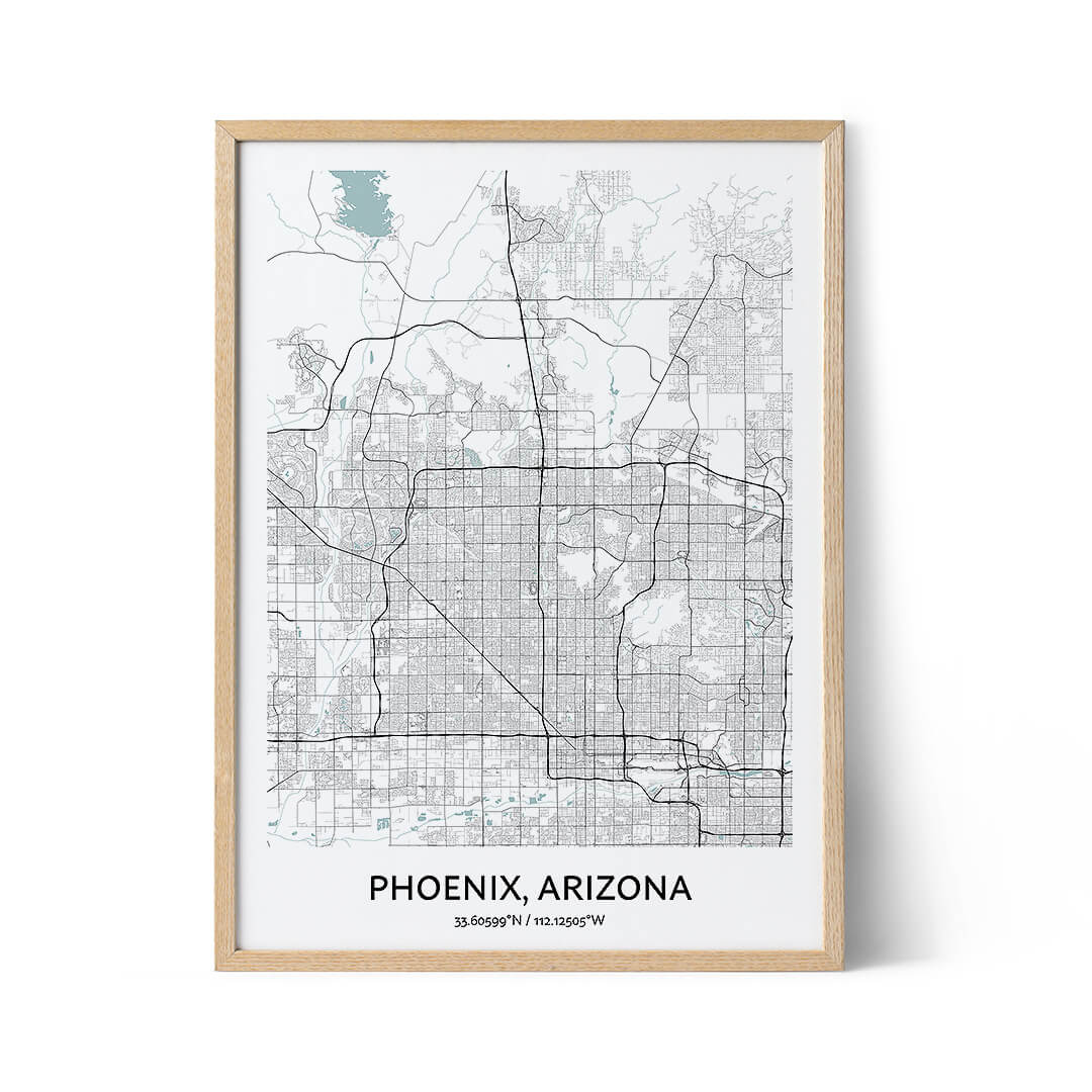 Phoenix city map poster