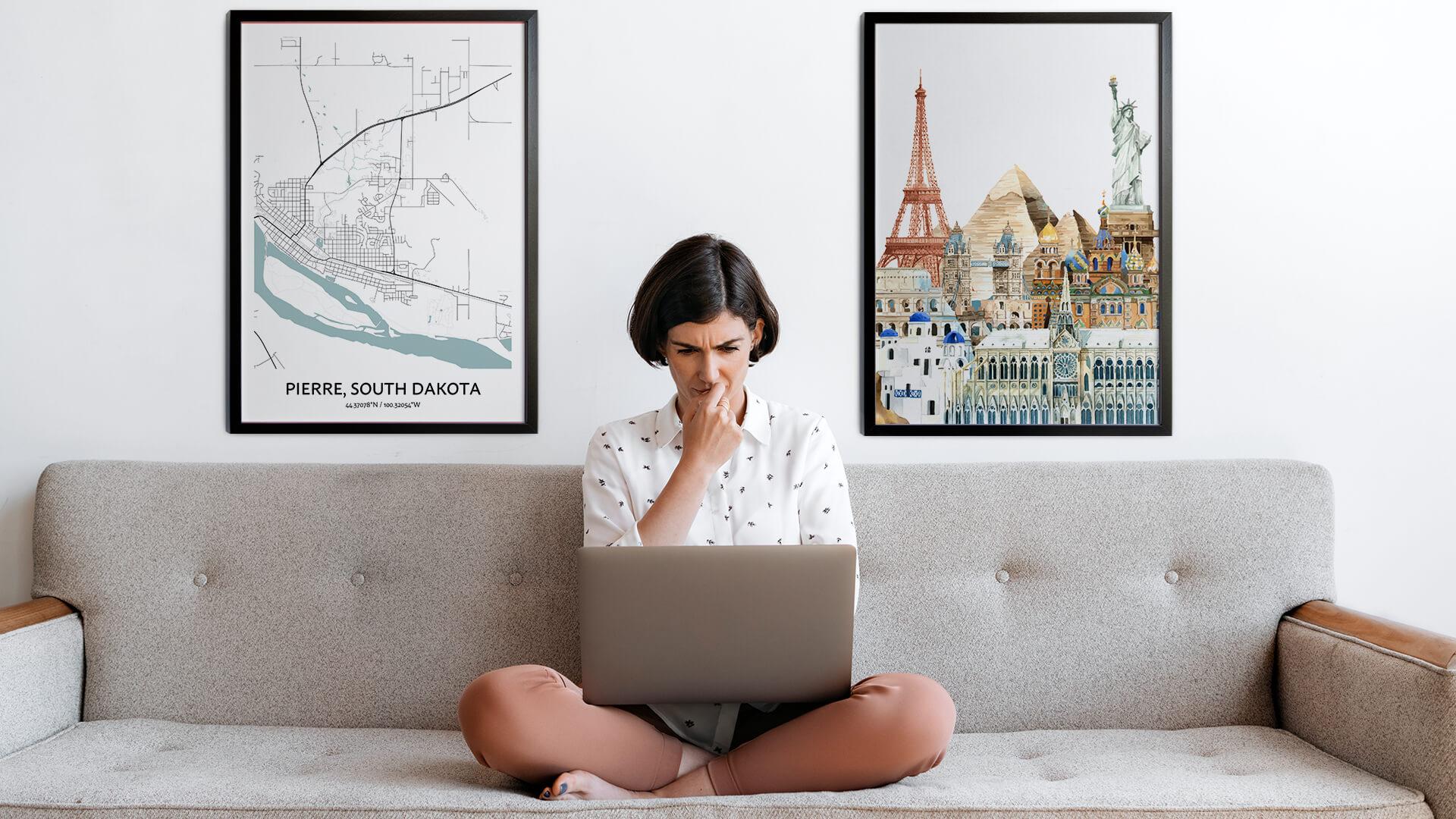 Pierre city map art
