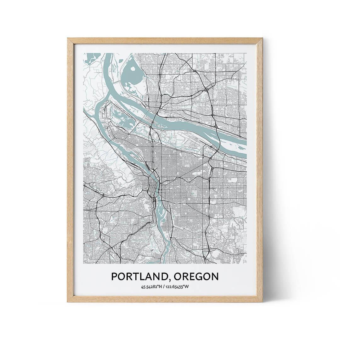 Portland city map poster
