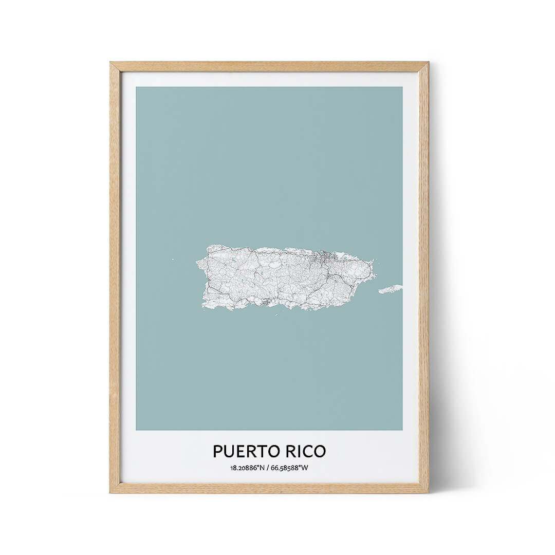Puerto Rico city map poster