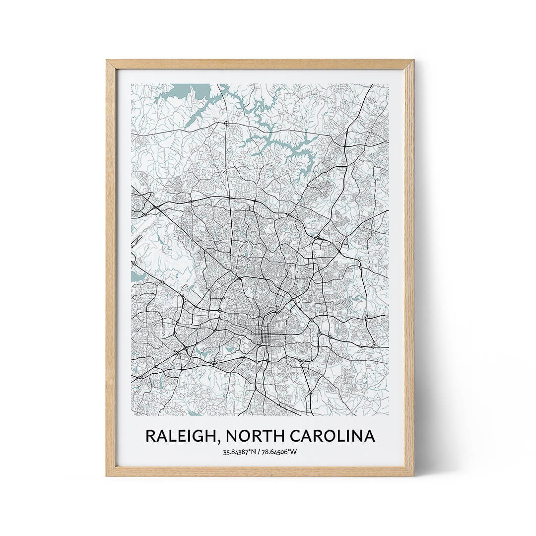 Raleigh city map poster