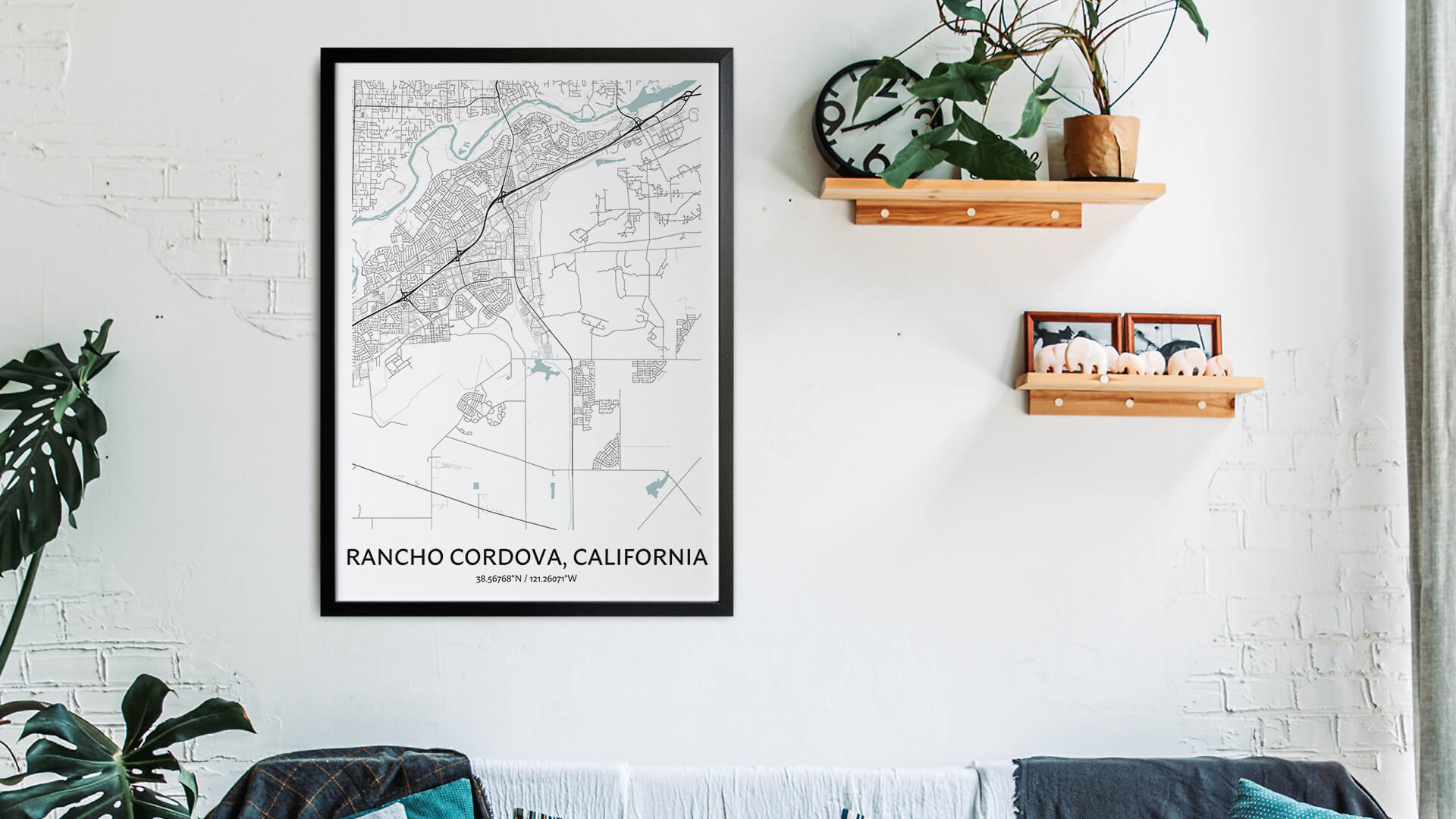 Rancho Cordova map art