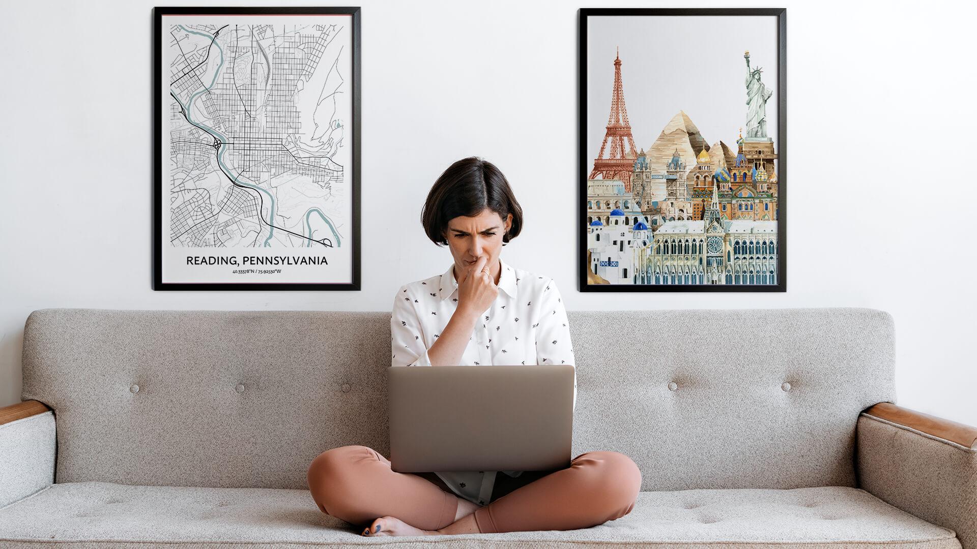 Reading city map art
