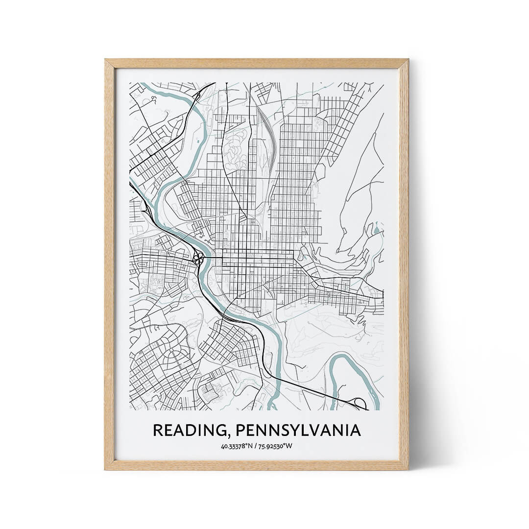 Reading city map poster