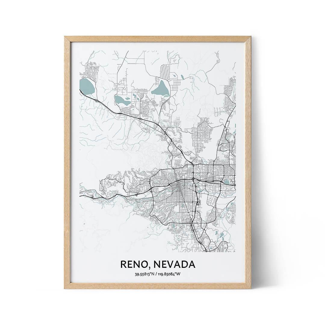 Reno city map poster