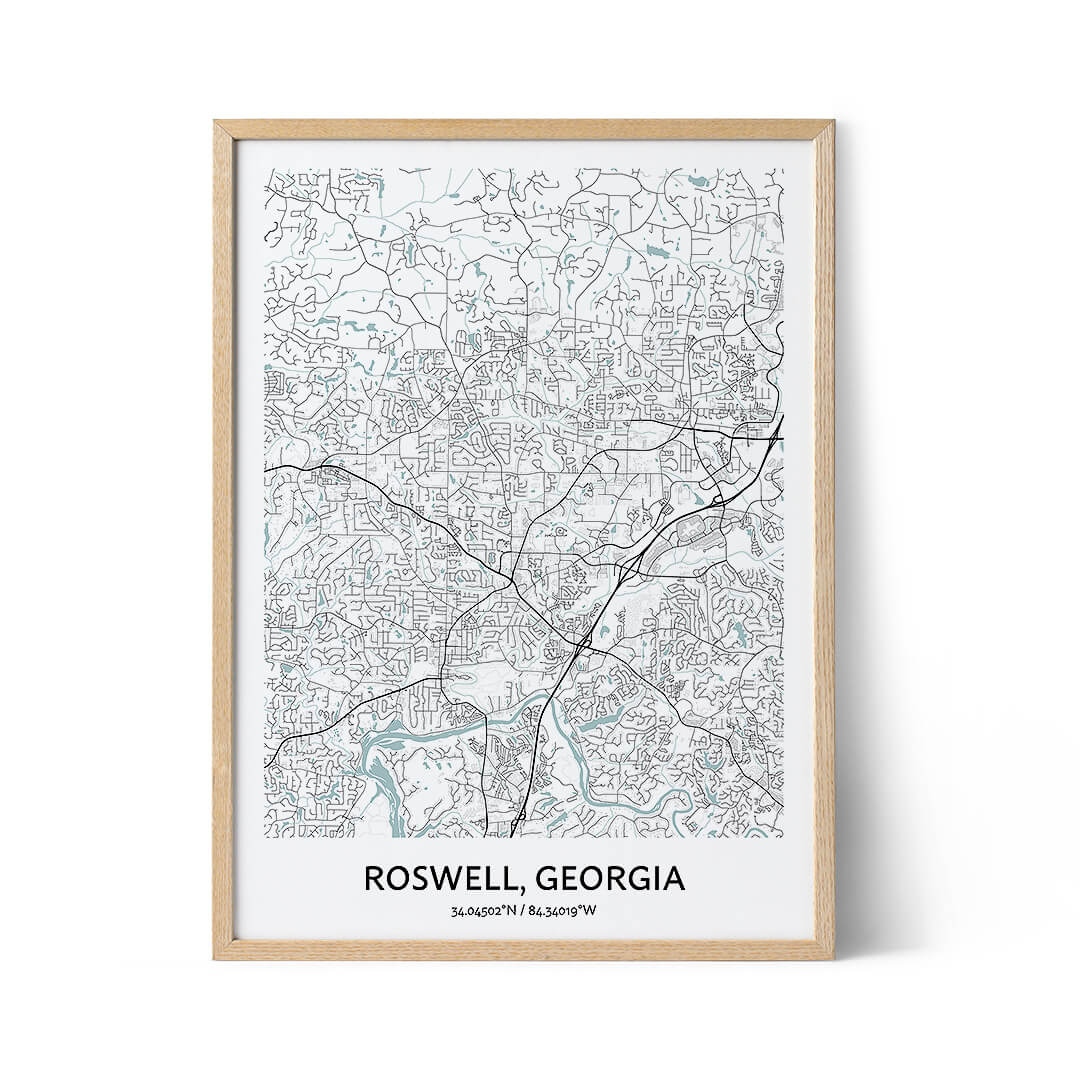 Roswell city map poster