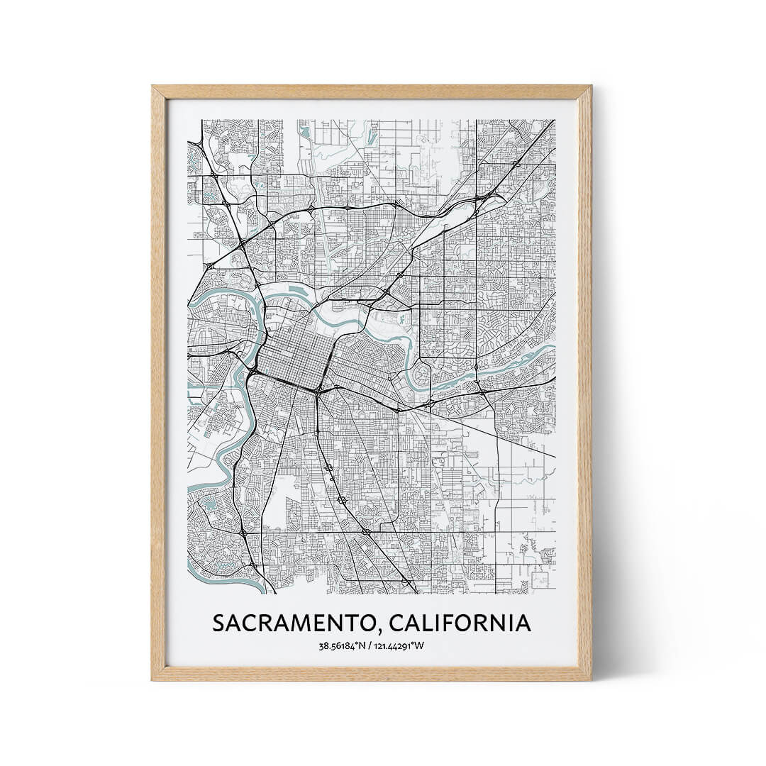 Sacramento city map poster