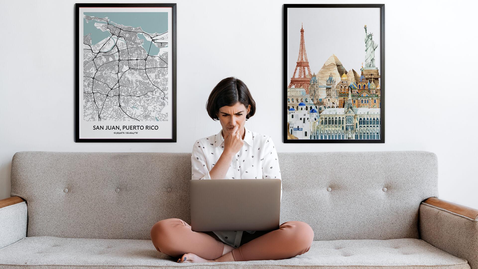 San Juan city map art