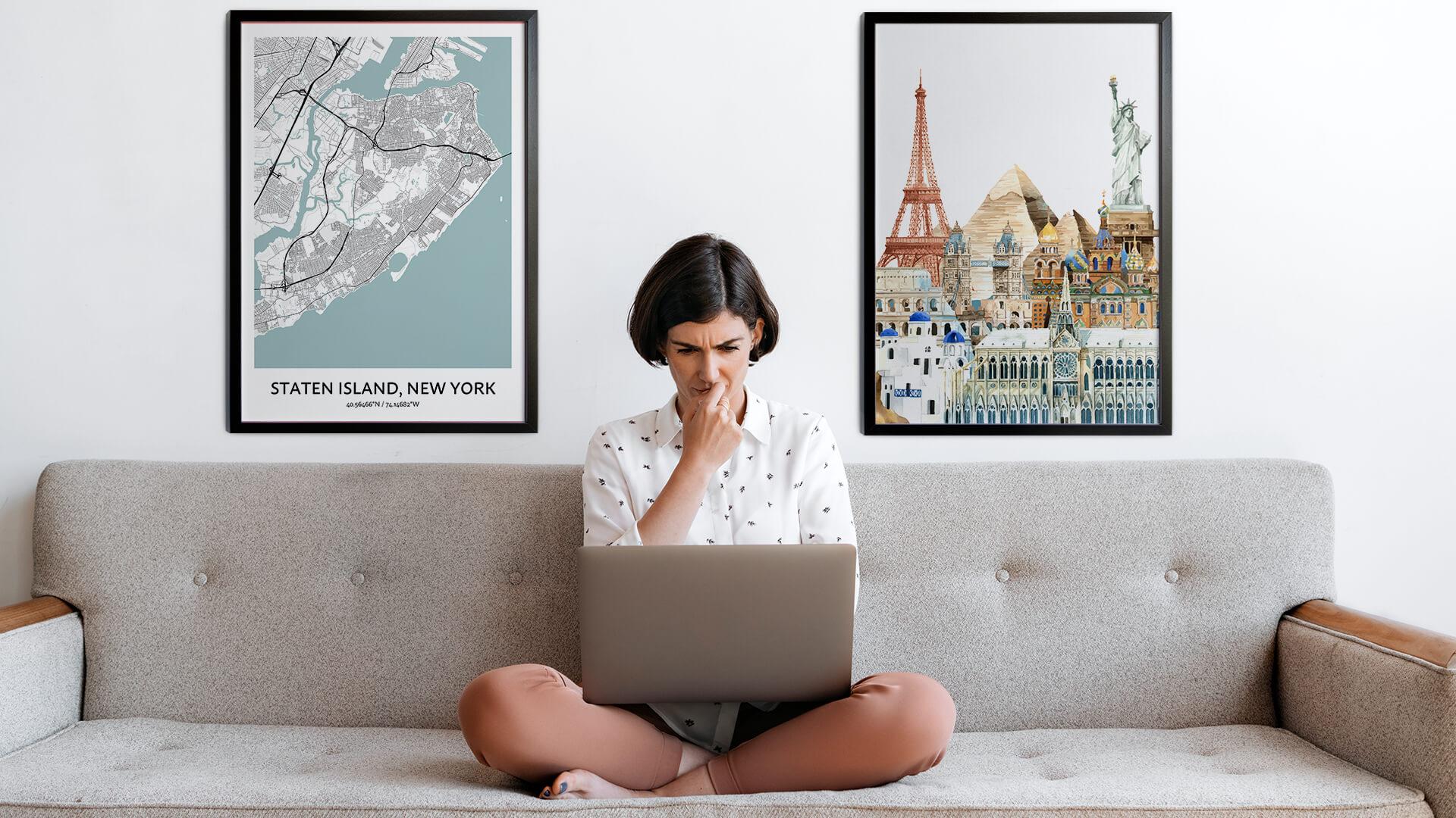 Staten Island city map art