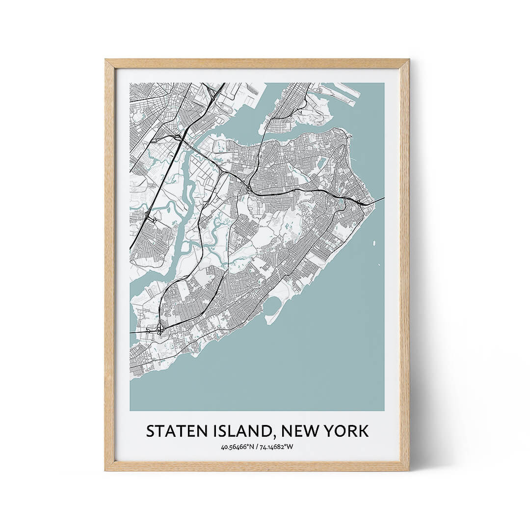 Staten Island city map poster