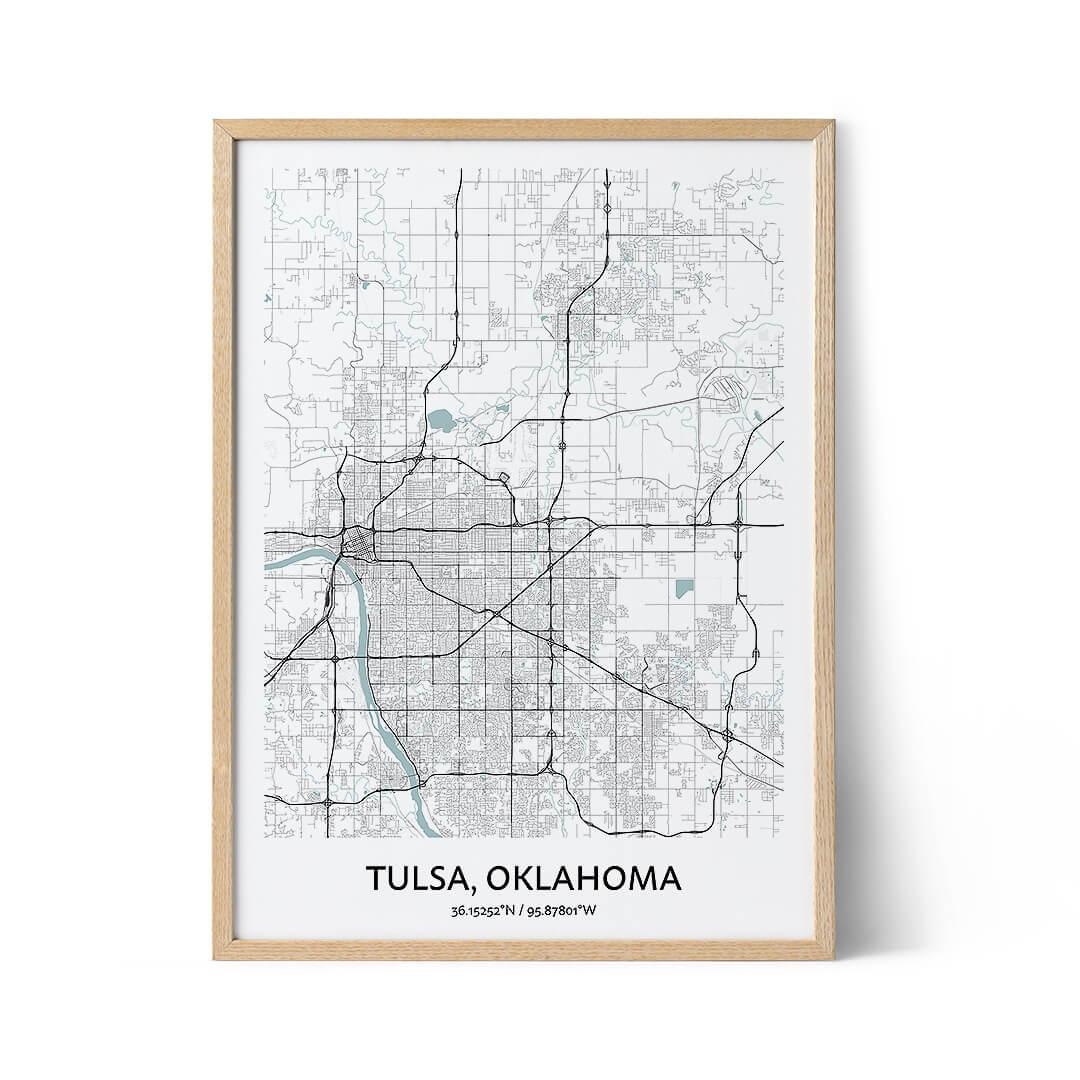 Tulsa city map poster