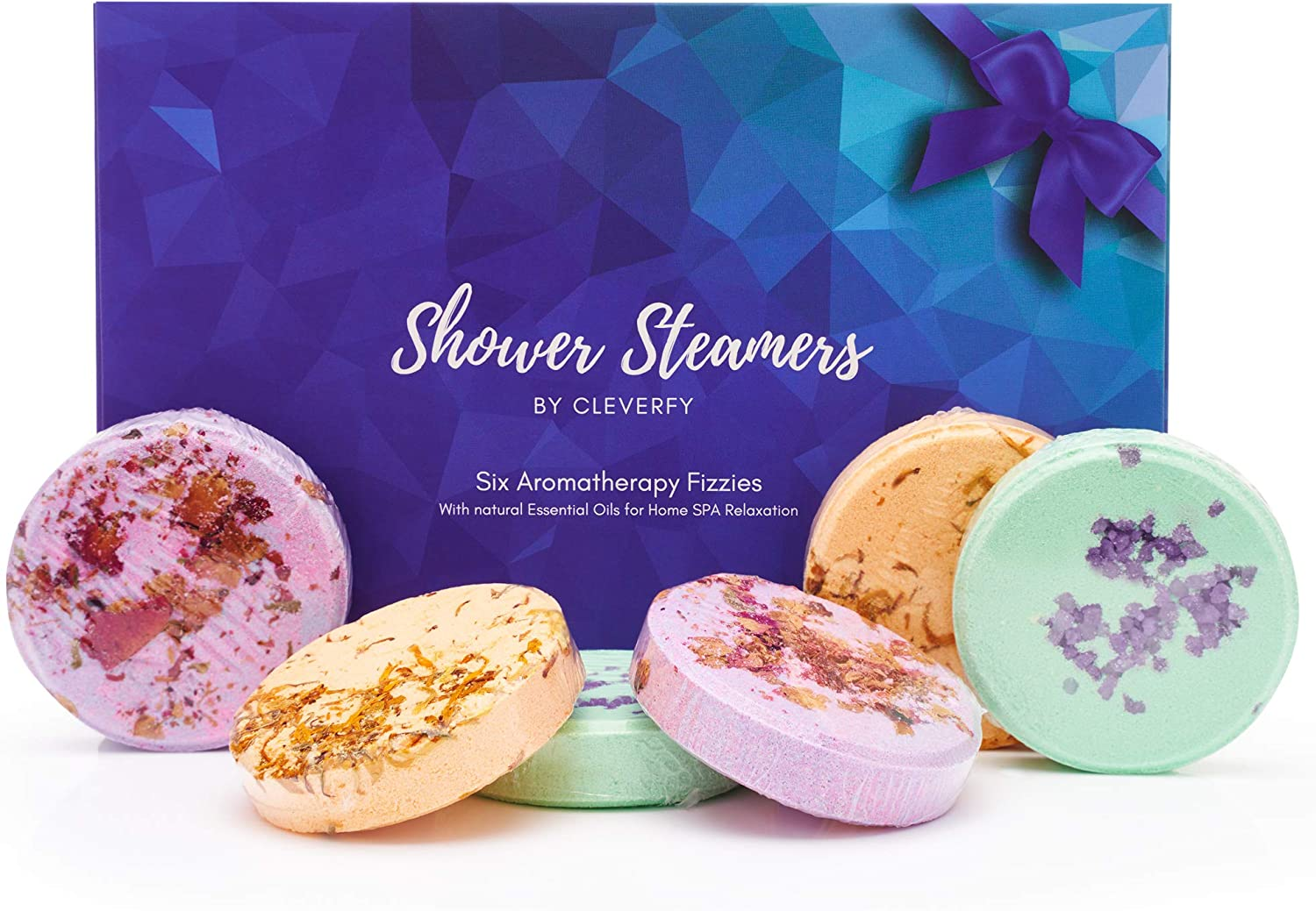 Pack of 6 Shower Bombs with Essential Oils