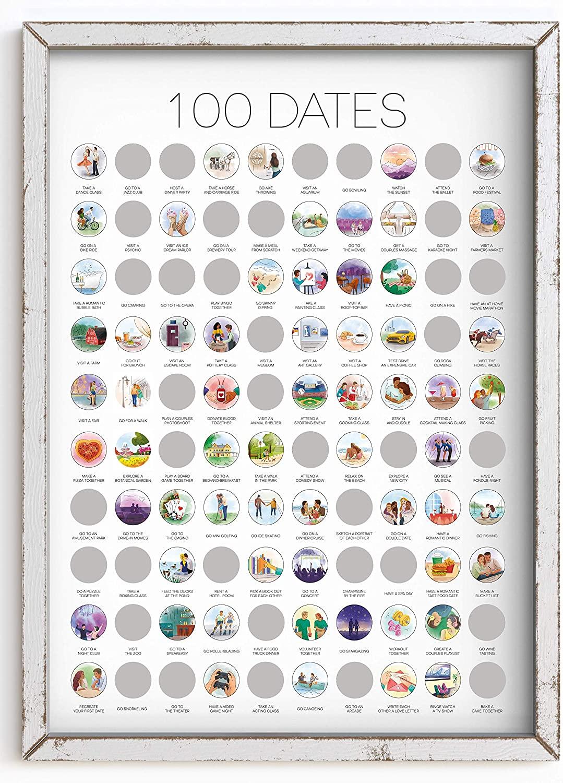 100 Dates Poster - Fun 19 Years Anniversary Gift