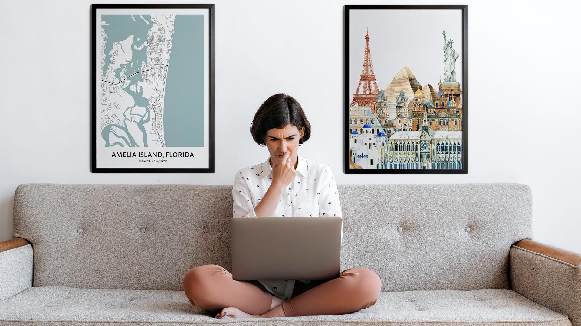 Amelia Island city map art