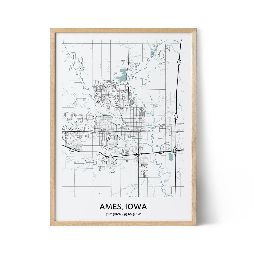 Ames city map poster