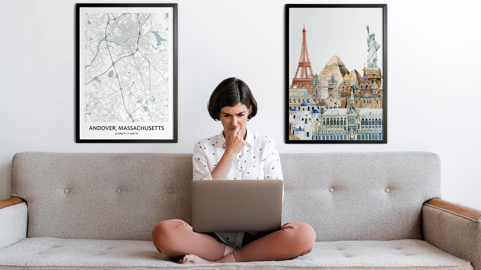 Andover City Map Art