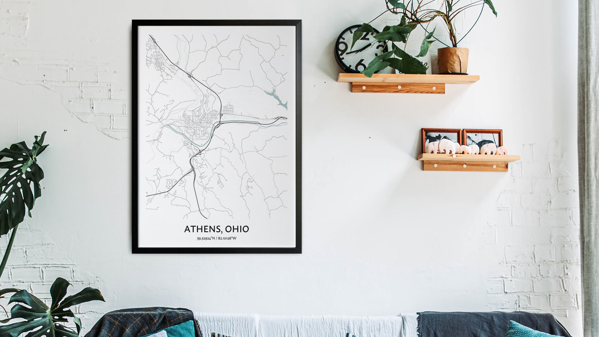 Athens Ohio map art