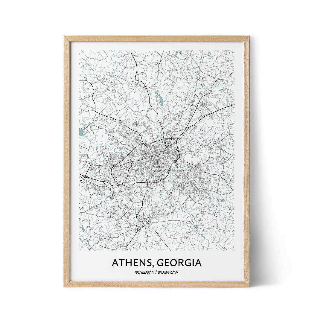 Athens city map poster