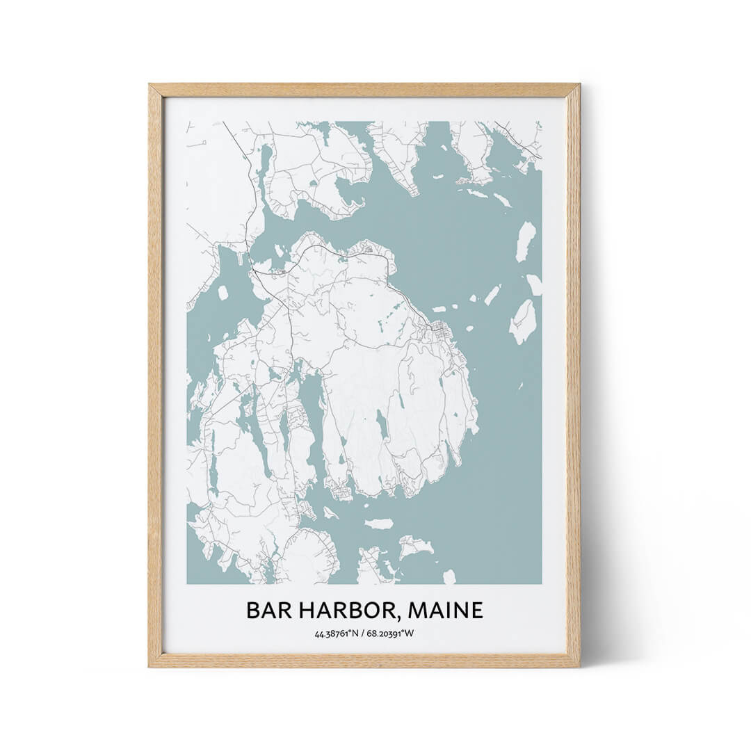 Bar Harbor city map poster