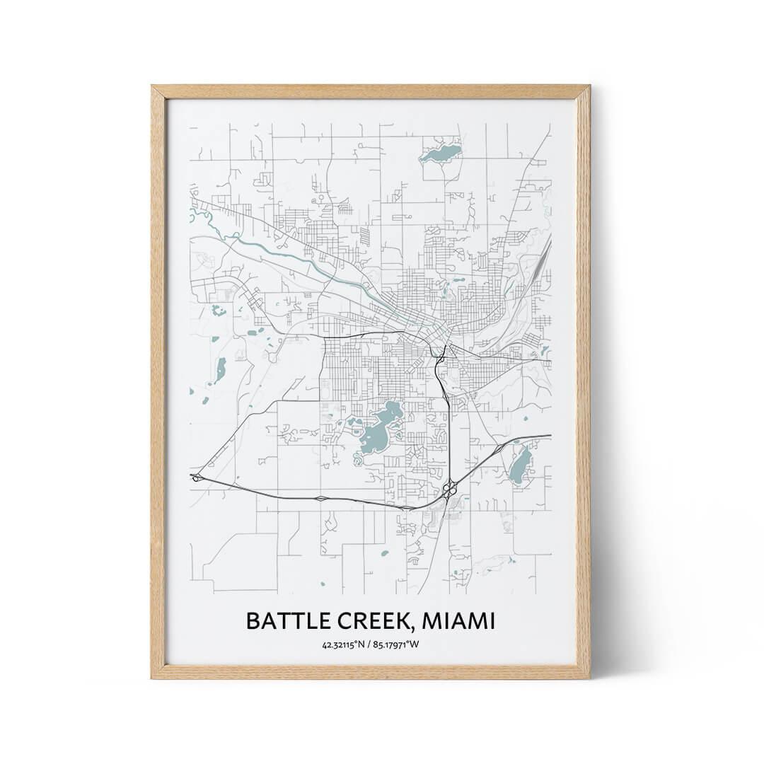 Battle Creek city map poster