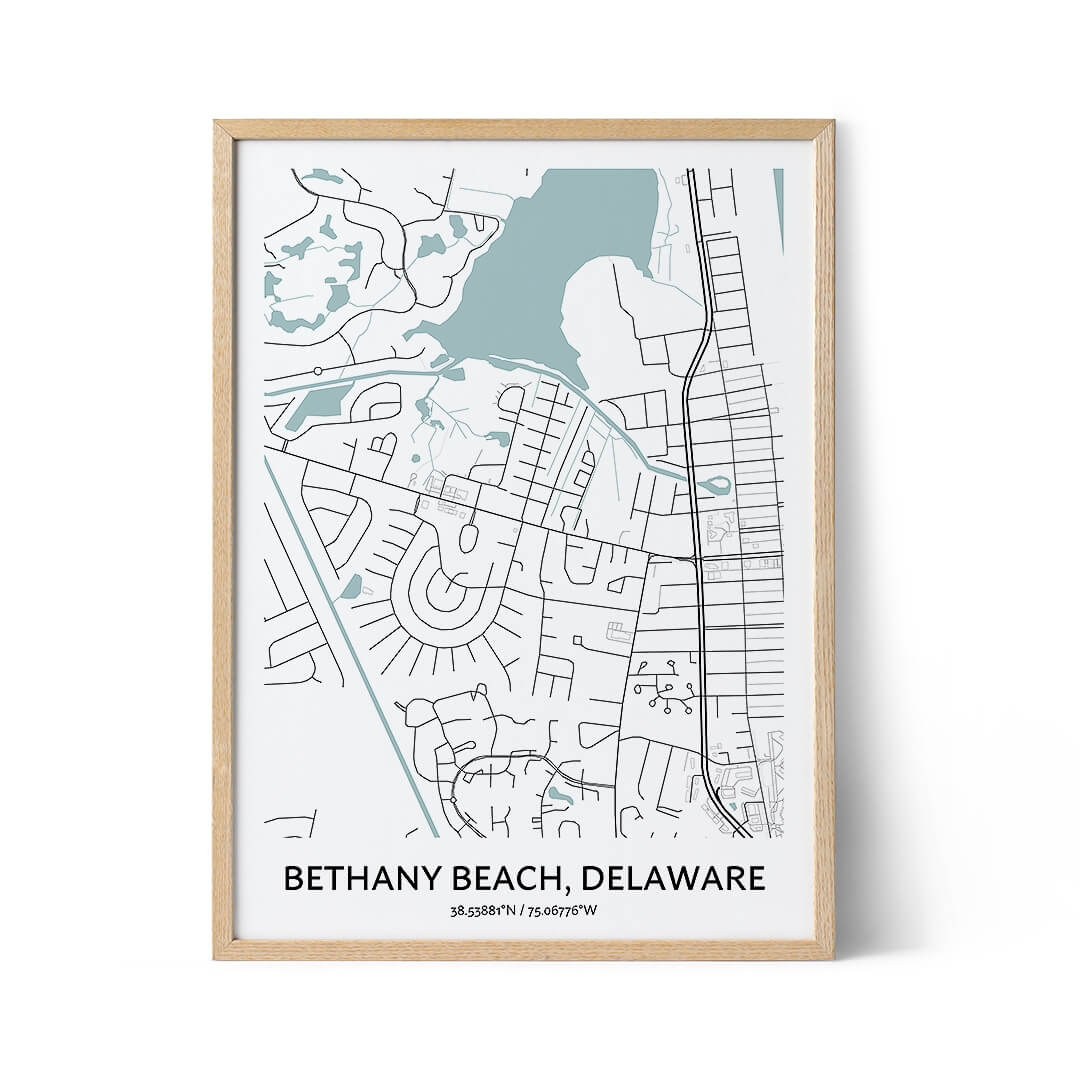 Bethany Beach city map poster