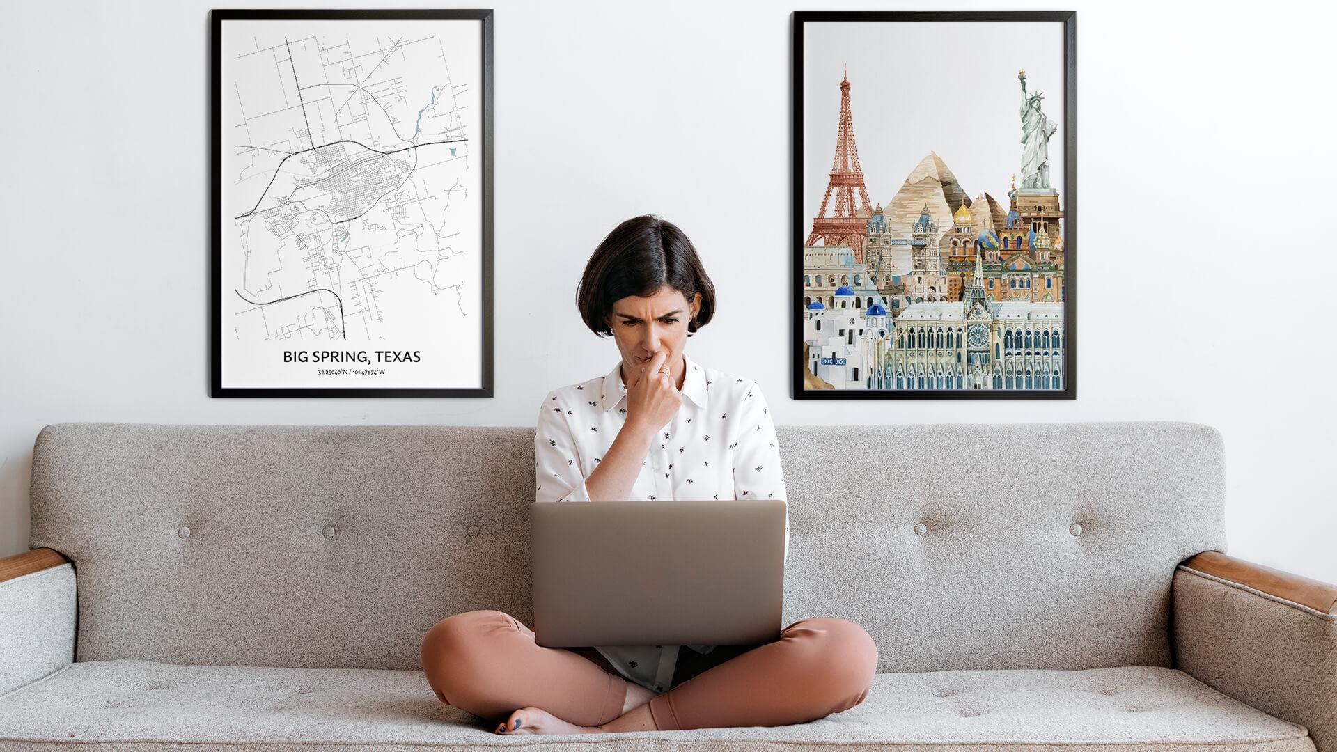 Big Spring city map art
