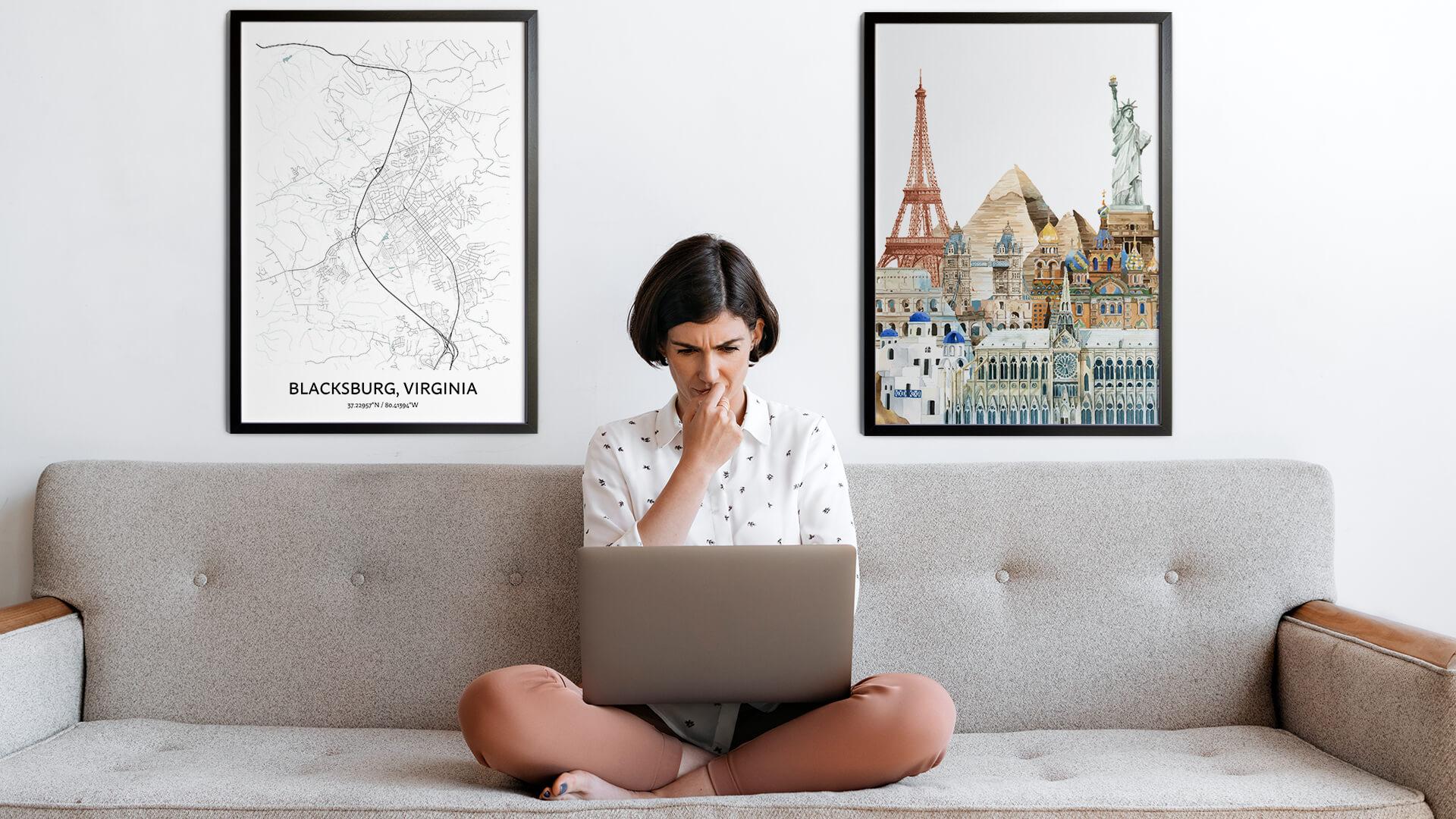 Blacksburg city map art