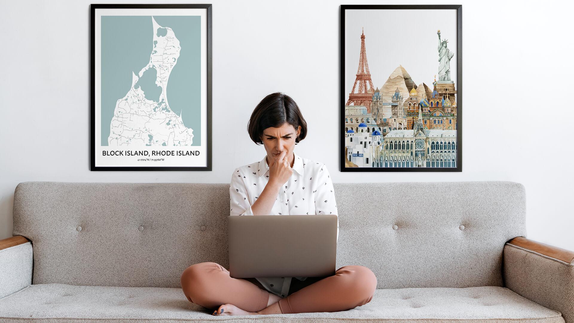Block Island city map art
