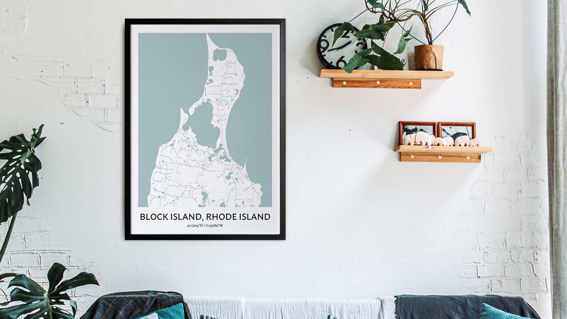 Block Island map art
