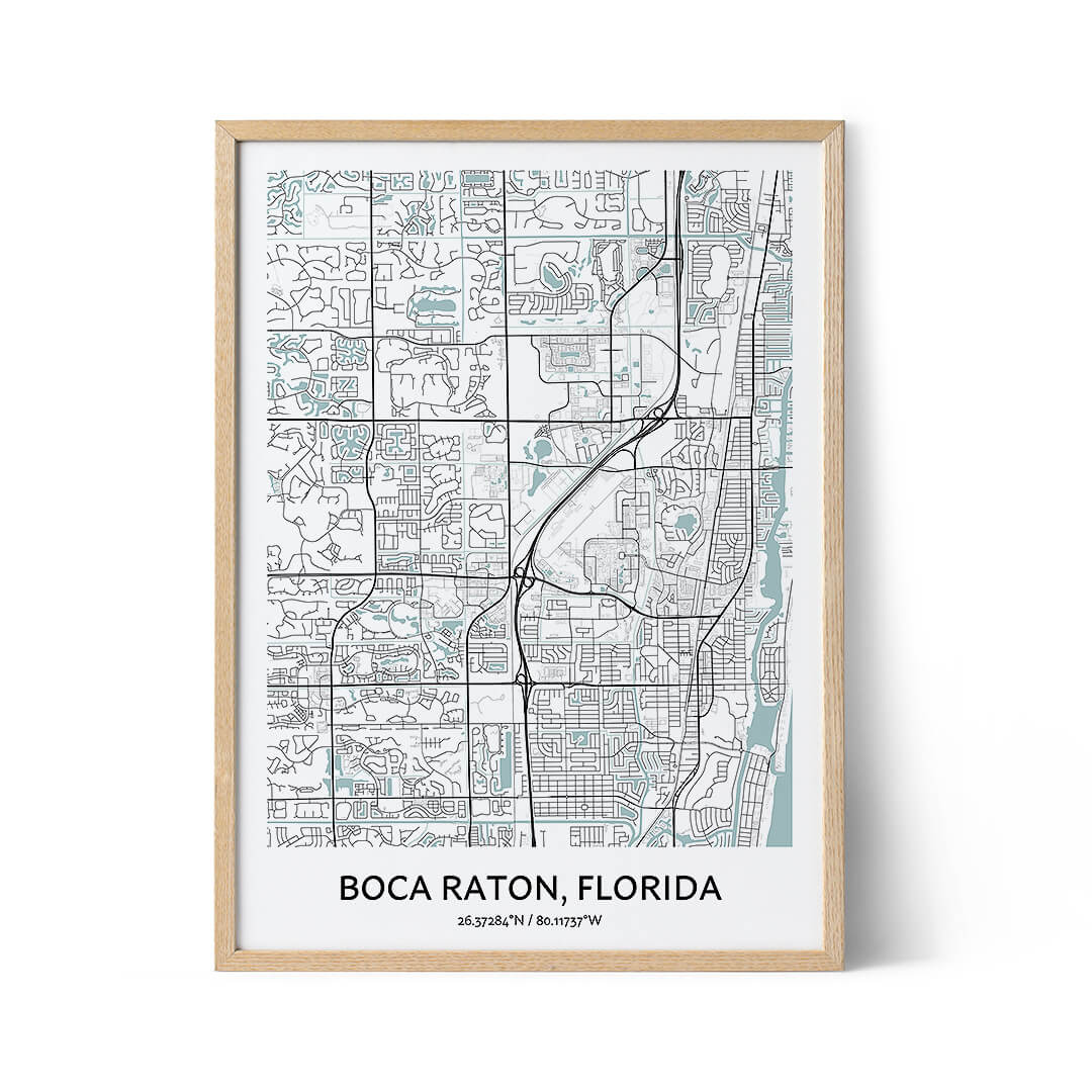 Boca Raton city map poster