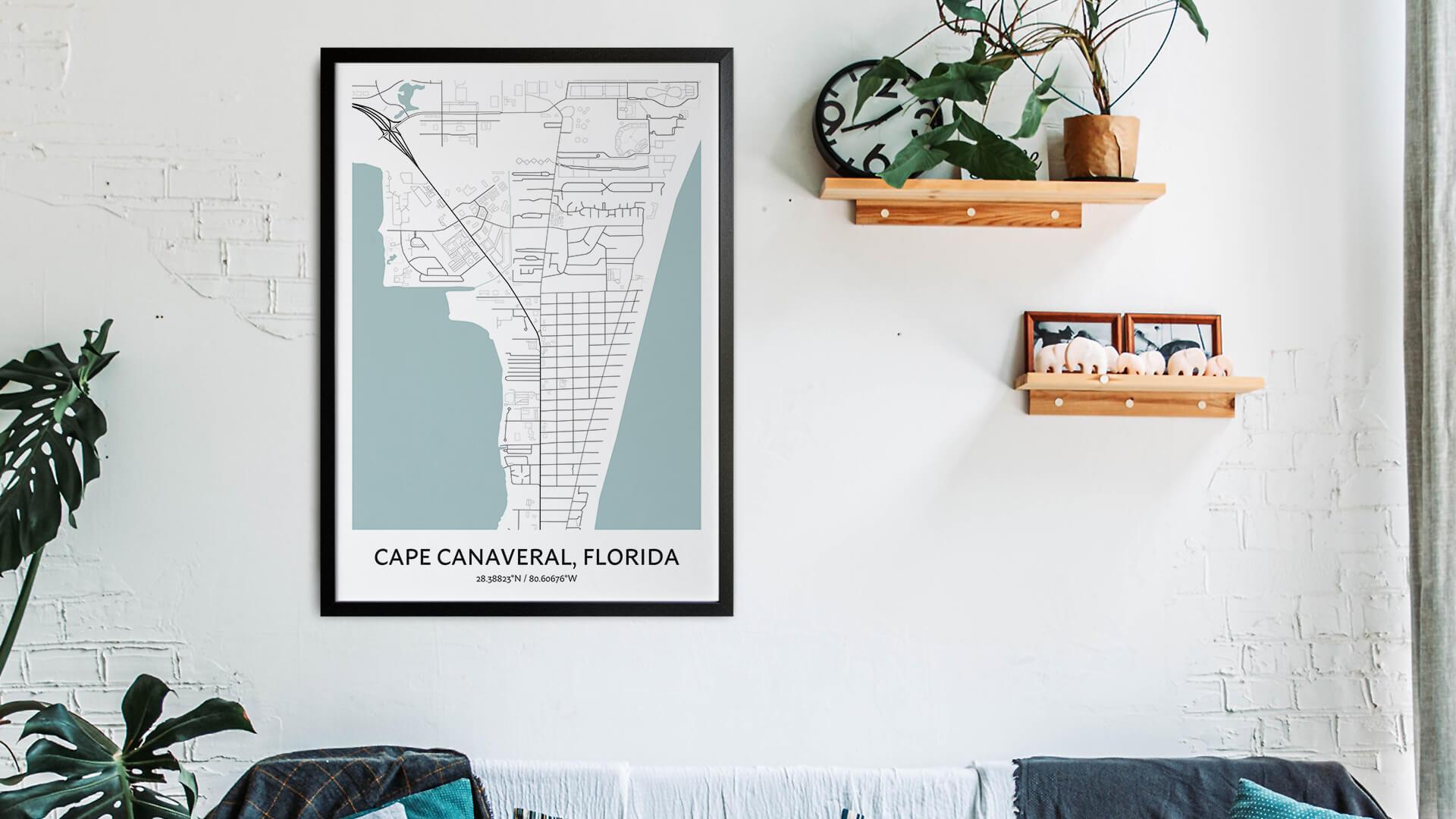 Cape Canaveral map art