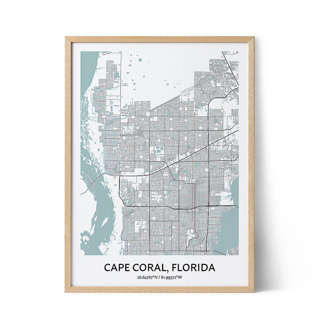 Cape Coral city map poster