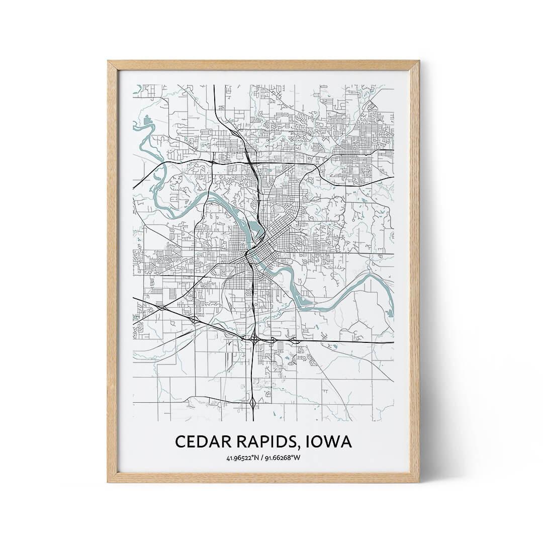 Cedar Rapids city map poster