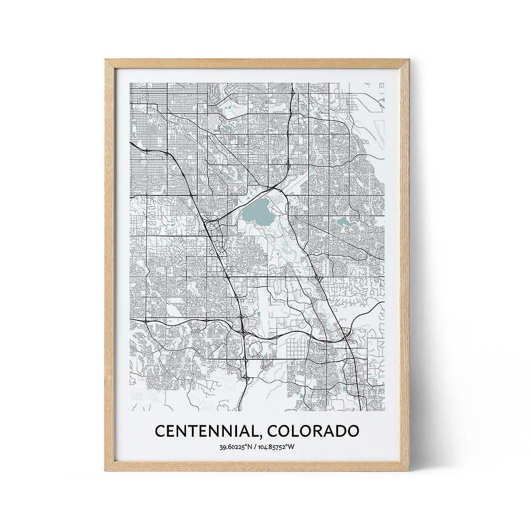 Centennial city map poster