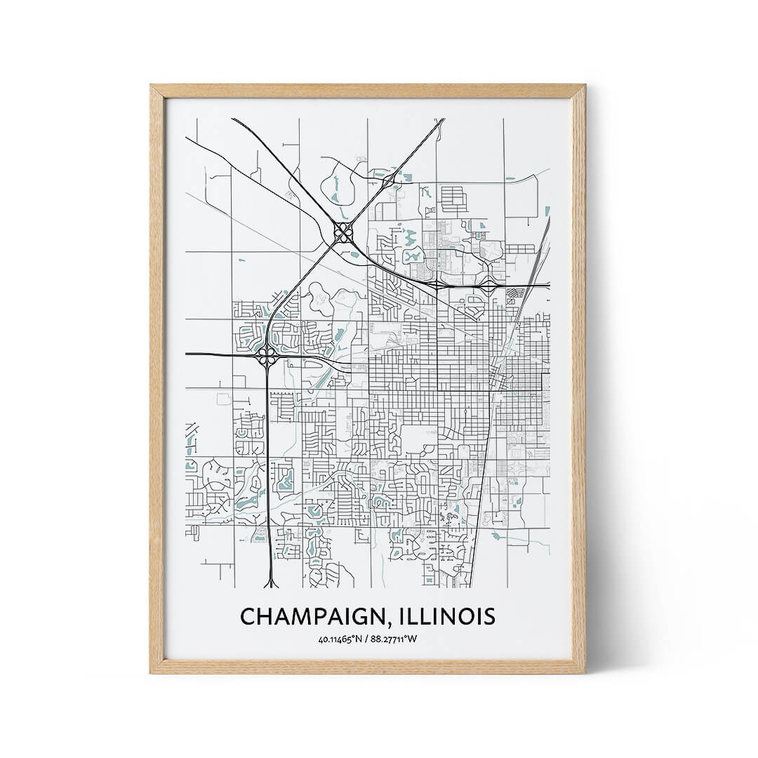 Champaign city map poster