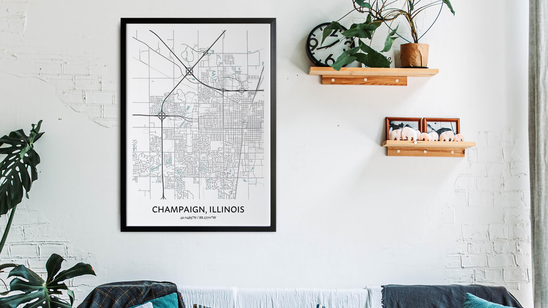 Champaign map art