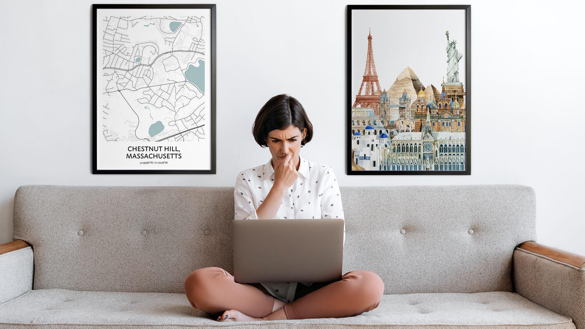 Chestnut Hill city map art