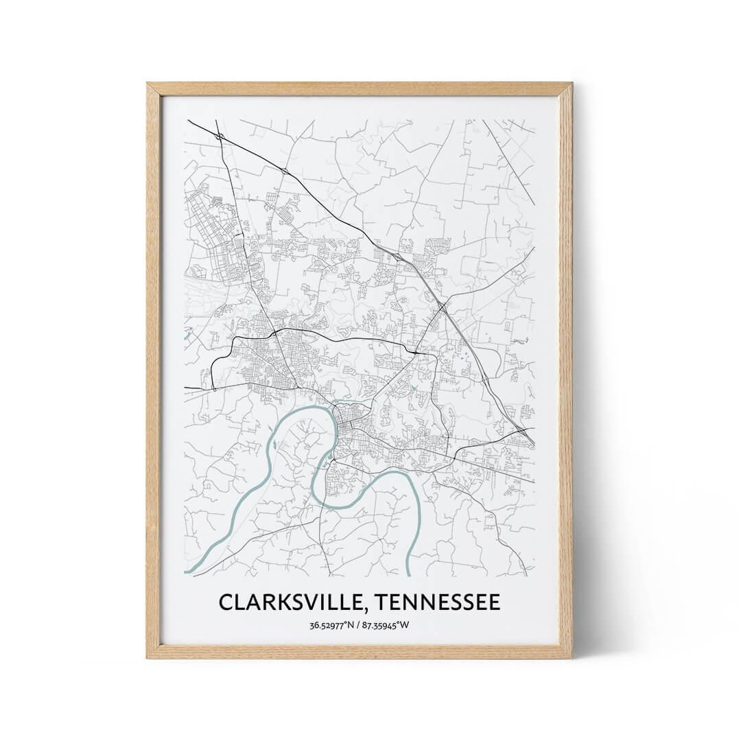 Clarskville city map poster
