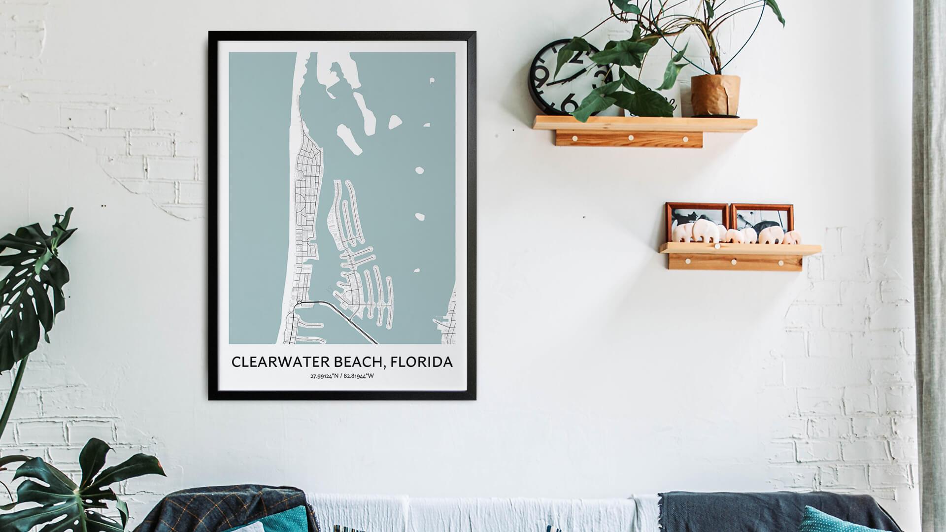 Clearwater Beach map art