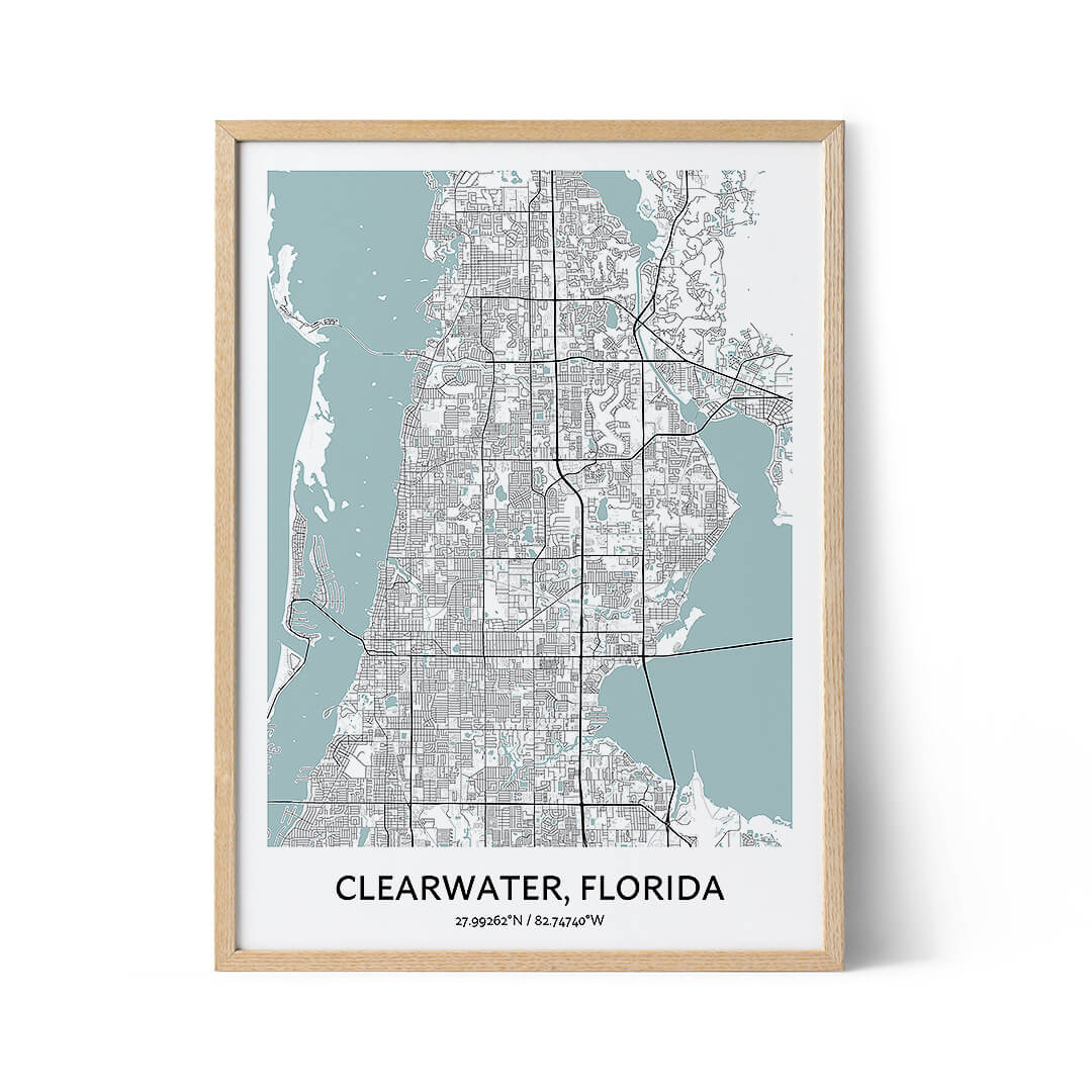Clearwater city map poster