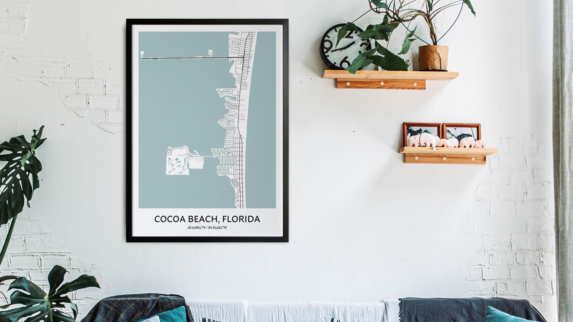 Cocoa Beach map art