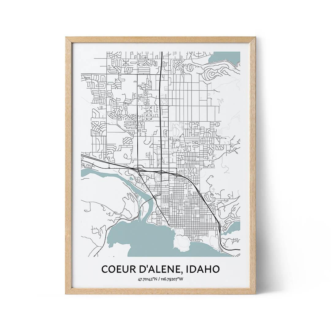 Coeur d'Alene city map poster