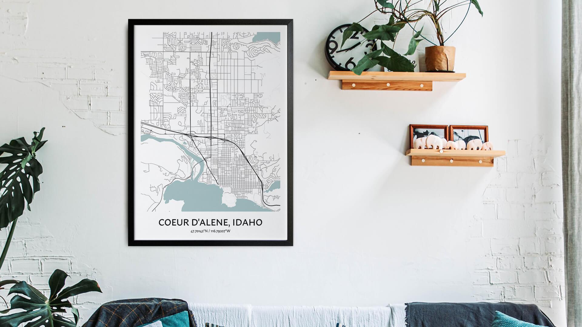 Coeur d'Alene map art