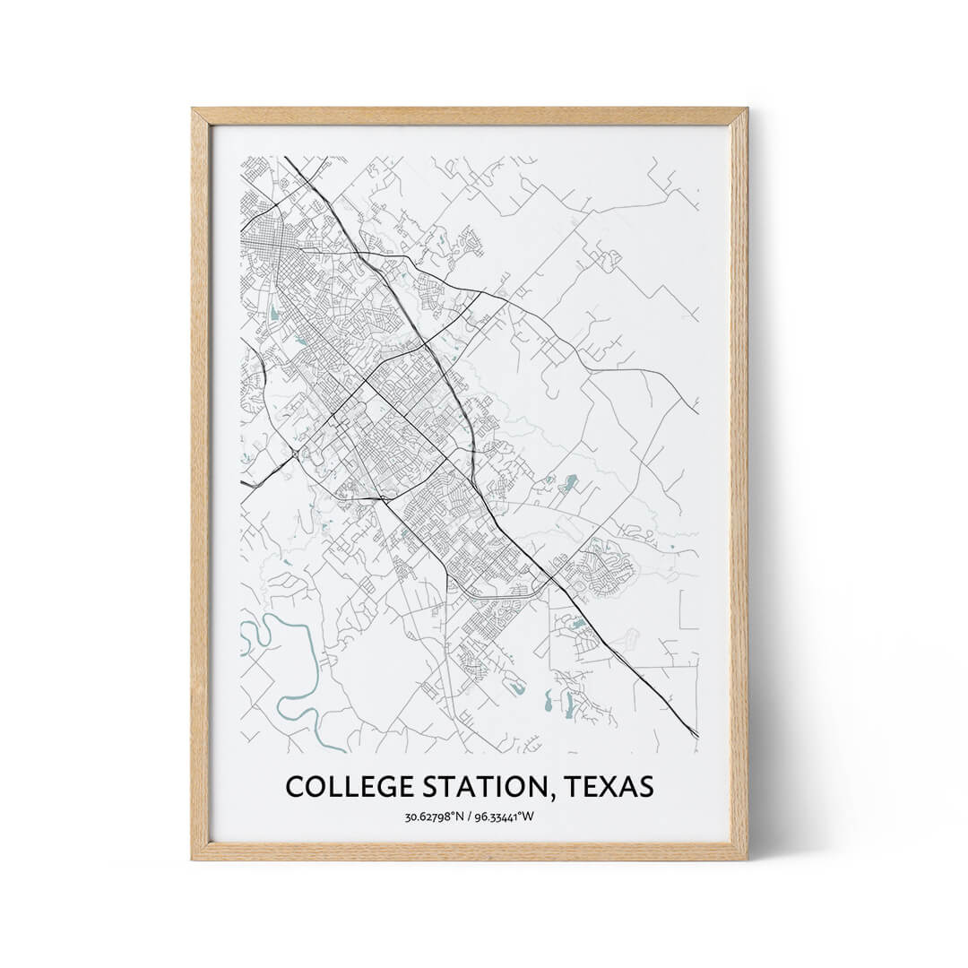 College Station city map poster