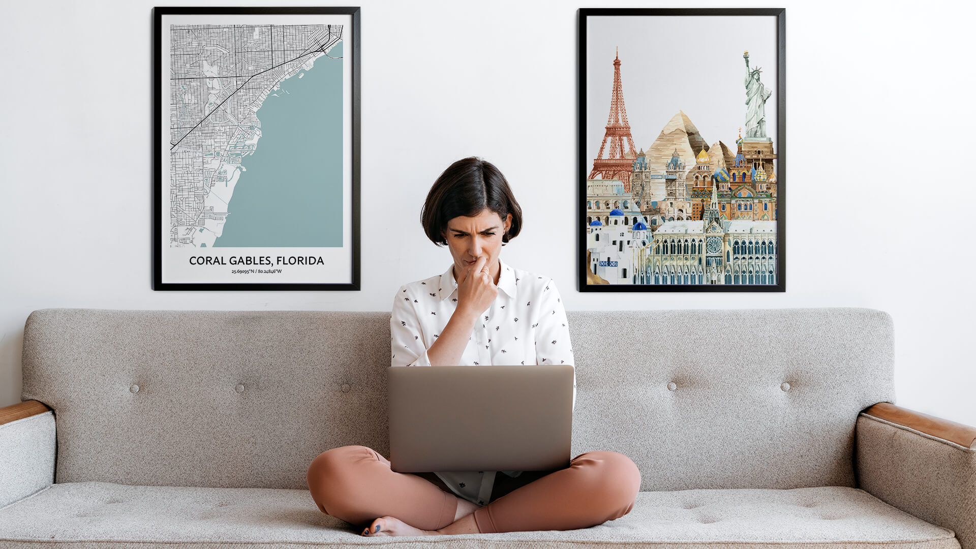Coral Gables city map art