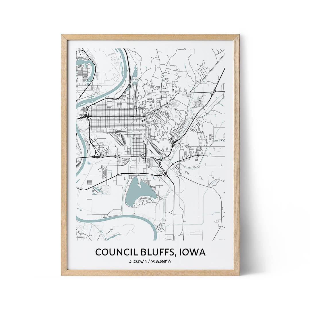 Council Bluffs city map poster