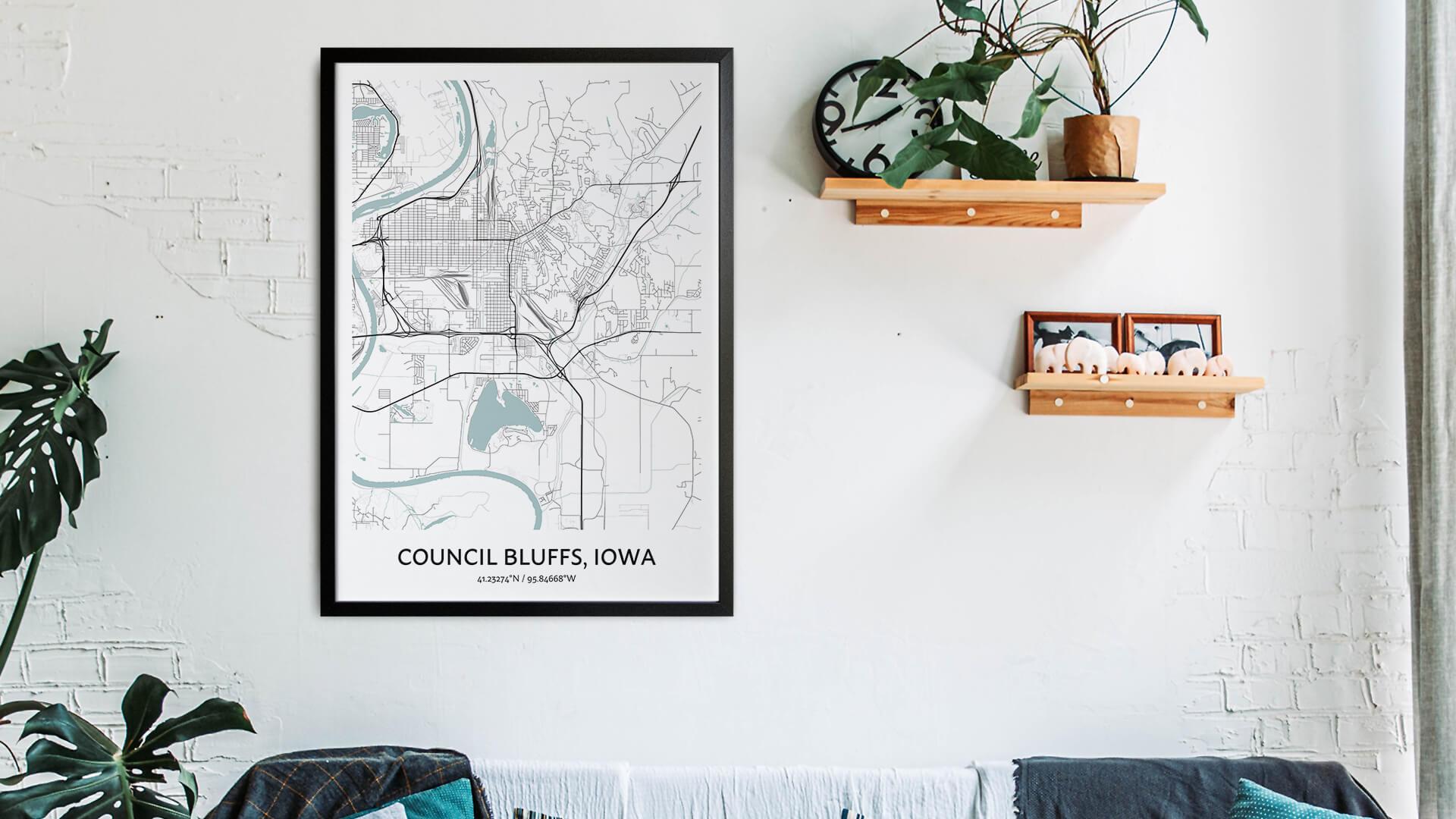 Council Bluffs map art